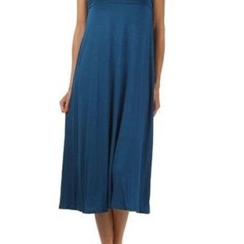 Plain Colors Draped JERSEY MAXI LONG SKIRT Banded Waist Full Length Long Dress
