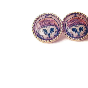 Owl with knitted hat earrings - barn owls pair of earrings - resin earring stud post jewellery - jewelry uk - christmas gift nature