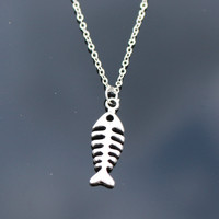 Fish bone Necklaces Women Retro Colar Fashion Jewelry  Pendant Necklace Bijoux Tree Leaf Cross Feather Elephant Anchor Simulated Pearls