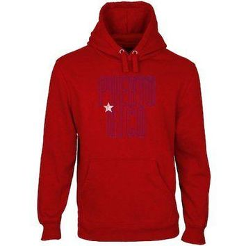 Licensed Sports Puerto Rico Flag Pullover Hoodie - Red KO_20_2
