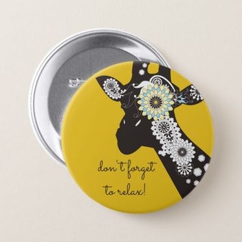 Funky Cool Paisley Giraffe Funny Animal Yellow Button