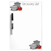 Grocery List Cooking Pot & Strainer Dry-Erase Board