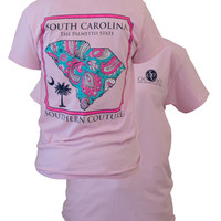 Southern Couture South Carolina Preppy Paisley State Pattern Palmetto State Girlie Bright T Shirt