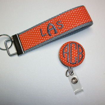 Personalized Keychain Key FOB / Wristlet retractable reel combo - 3 initial monogram on your choice of pin swiss dots preppy -  custom