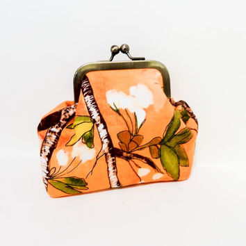 Coin Purse, Metal Frame Coin Purse, Small Purse, Floral Snap Pouch, Kisslock Pouch, Pouch, Fabric Pouch, Small Pouch, Orange Flowers