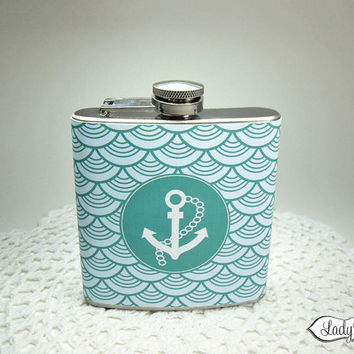 Nautical Anchor Hip Flask - Mens or Womens Gift - LR123
