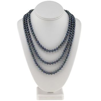 Black Freshwater Semi-Round Continuous Pearl Strand Necklace - 60 Inches
