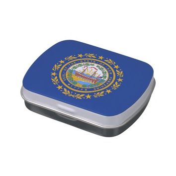 Patriotic candy tins with Flag of New Hampshire