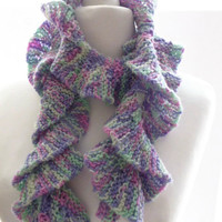 Multicolour knit scarf, pastel pink green mauve waterfall acrylic yarn hand knit scarf, UK shop