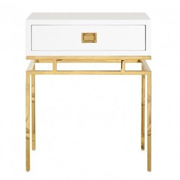 Cayson 1 Drawer Gold Side Table | White