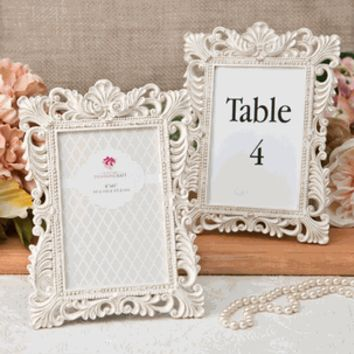 Vintage Ivory Picture / Table Number Frame with Brushed Gold Leaf