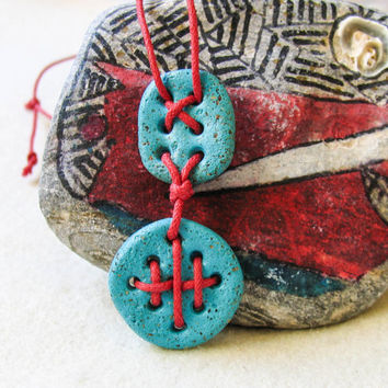 Turquoise Red Ethno tribal Necklace Bohemian Necklace Pendant Hippie Handmade Stitched Clay Beads Pendant Art Clay Turquoise Jewelry