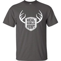 Real Girls Hunt RedNeck Funny T-Shirt Tee Shirt buck doe deer Ladies Womens Youth Shirt Gifts Funny Hunter Hunt Red Neck Hick Tee DT-061