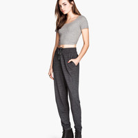 H&M - Sweatpants - Black melange - Ladies