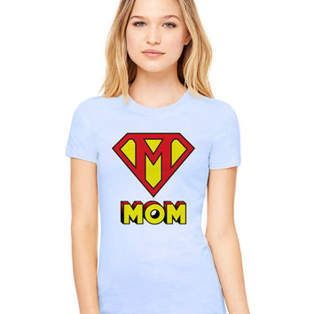 Light Blue Tshirt - This Mom Is Super Funny Shirt Tee T-Shirt Mens Ladies Womens Mother's Day