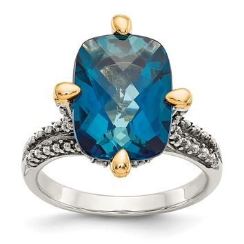 Sterling Silver Two Tone Silver And Gold Plated Sterling Silver w/London Blue Topaz Ring