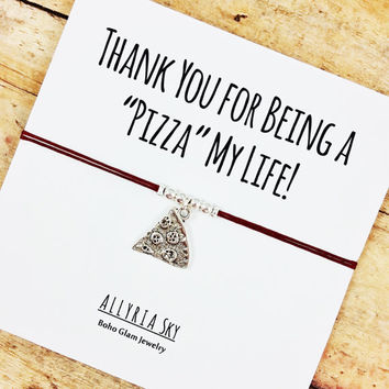 Silver Pizza Friendship Bracelet with Card | Pizza Slice Jewelry | BFF, Couples, Best Friend Gift Bracelet | Friendship Thank You Gift