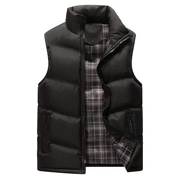 Mens Classic Black Zip Up Casual Puffer Vest
