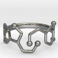 Dopamine & Serotonin Molecule Ring - Size 8 by Camazine on Shapeways
