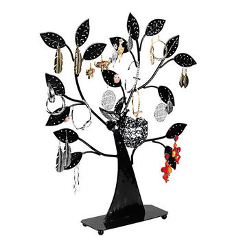 1PC Black Earring Tree Bird Nest Jewelry Display Stand Holder Multi-function