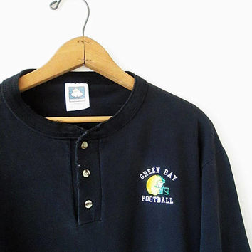 Vintage 1990s GREEN BAY PACKERS Football Embroidered Henley Long Sleeve Shirt Sz L
