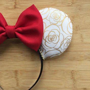 Belle Ears, Belle Mouse Ears, Belle Inspired Ears, Beauty and the Beast Ears, Custom Minnie Ears, Belle Minnie Ears