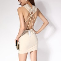 Krazy Sexy Club Cocktail Party Evening Dress #075 Nude