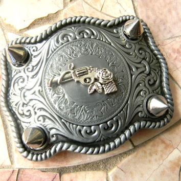 Silver Gun Spiked Belt Buckle, Pistol Charm, Studs and Spikes Western Womens Rose Belt Buckle,Rhinestone Gun, Guns N Roses Custom Buckle
