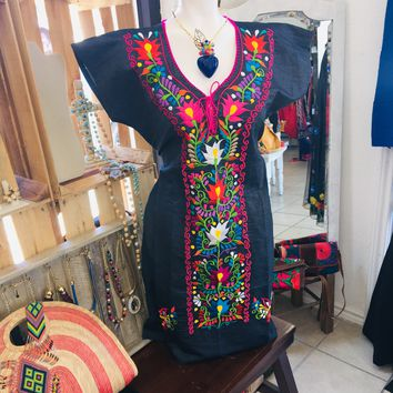 Mexican Denim Floral Embroidered Mini Dress