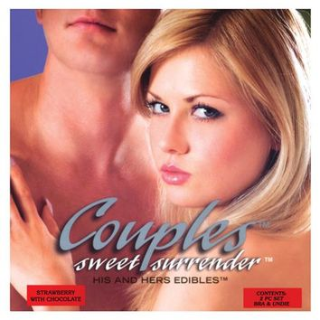 Couples Sweet Surrender His & Hers Edible Undies - Strawberry W-chocolate Pack Of 2