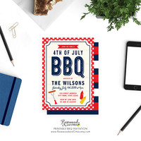 Printable BBQ Invitation, BBQ Party Invitation Printable, 4th of July BBQ, Fourth of July Barbecue Party, Printable Barbecue Invitation