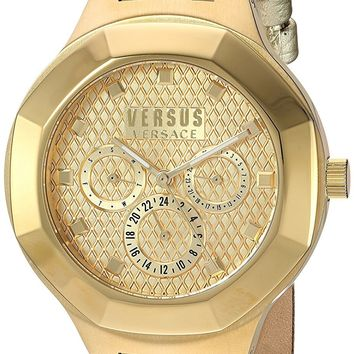 Versus by Versace Women's 'LAGUNA CITY' Quartz and Leather Casual Watch, Color:Gold-Toned (Model: VSP360217)
