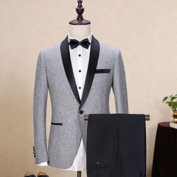 DCCKON3 Brand Wool Men's Suits Gray Black Jacket Blazers Slim Fit Male Suit Tuxedos Wedding Prom Geroom Business Jacket+Pants 2 Piece