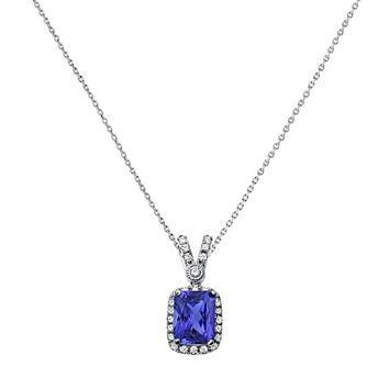1.91tcw Radiant Tanzanite & Diamonds in 14K White Gold Pendant Necklace