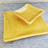 Small Sushi Plate And Sauce Dish Set, Handmade, Ceramic, Golden, Yellow, Home Decor, Kitchen, Dinner