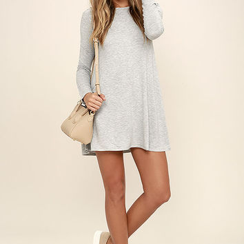 Olive & Oak Farewell Heather Grey Striped Long Sleeve Dress