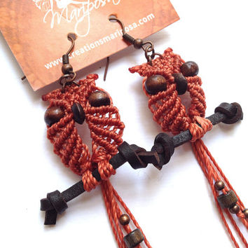 Extra long macrame owl on a perch earrings peach boho bohemian hippie chic gypsy woodland elf knotted micromacrame