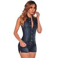 Women Denim Rompers Jumpsuits Overalls Casual Pants Jeans Short Bodycon