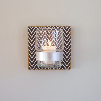 Modern Candle Holder l Black Chevron Herringbone l MILKY WAY l pattern geometric black white redtilestudio