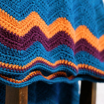Chevron / Ripple Crochet Baby Blanket - FREE U.S. SHIPPING - Teal, Orange, Purple