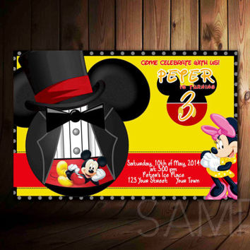 Minnie Mouse Mickey Mouse Invitation Black Polka Dot, Design For Birthday Invitation