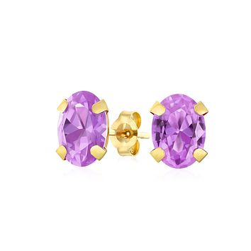 1.6CT Oval Created or Genuine Gemstone Stud Earrings For Women Real