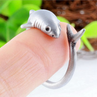 Animal shark alloy ring