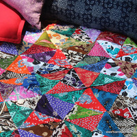 Patchwork Blanket Double Sided Bali Batik Patchwork Reversible Quilt Cotton Boho Blanket Single Twin Or Sofa Throw