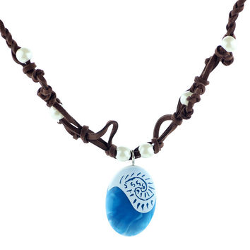 2017 Hot Moana Ocean Romance Rope Chain Necklaces Blue Stone Necklaces & Pendants Choker Necklace for women Girls jewelry
