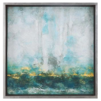 Aqua Blue Abstract Art By Uttermost