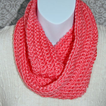 Crochet infinty scarf, coral, coral pink, circle scarf, loop scarf, women's, crochet scarf, chunky scarf, cowl scarf, chunky cowl, ribbed