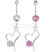 316L Surgical Steel Heart with Gem Flower Dangle Belly Button Navel Ring