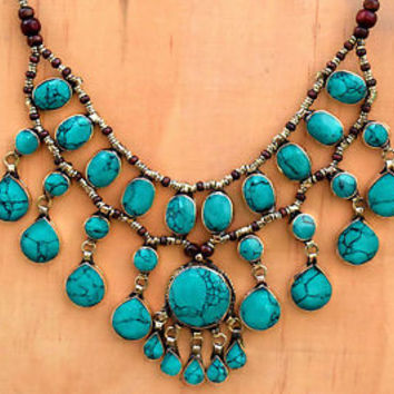 Green Turquoise Necklace Cassidy Bubble Bib Afghan Tribal Ethnic Kuchi Jewelry