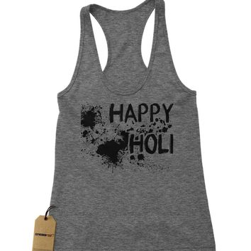 Happy Holi Indian Hindu Spring Festival Racerback Tank Top for Women